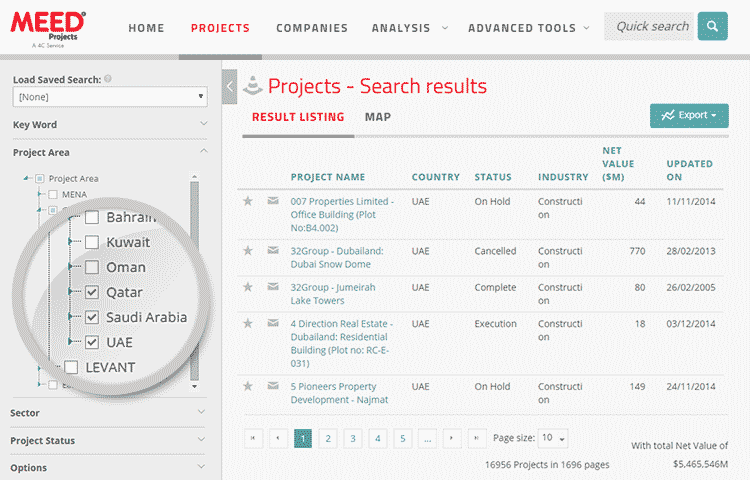meed projects client profile view